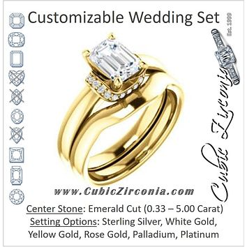 CZ Wedding Set, featuring The Jennifer Elena engagement ring (Customizable Emerald Cut featuring Saddle-shaped Under Halo)