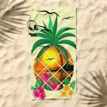 Pineapple Tropical Sunset, Palm Tree and Flowers Beach Towel by bluedarkatlem