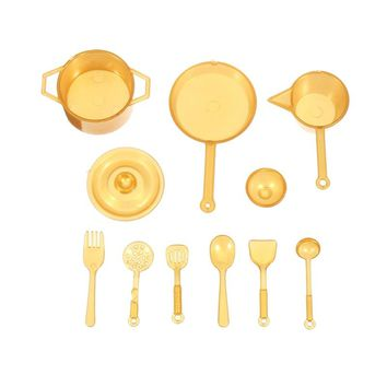 New 10pcs set DIY Mini Food Kitchen Pot Spoon Utensils Tableware Home Simulation Dollhouse Toy Ornament Craft Set Gold Silver