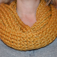 Knitted Infinity Scarf - Mustard Yellow / Gold