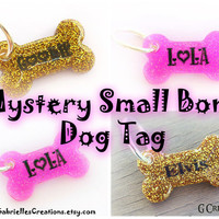 Super SALE Mystery Small Bone Dog ID Tag - Surprise Cute Design Pet ID - Colorful Glitter Resin Tag - Sprinkles Glow Dog Collar Accessory