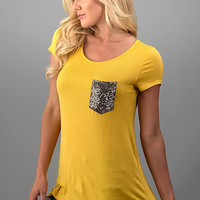Sequined Pocket Casual Top - Mustard