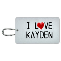 I Love Kayden Written on Paper ID Card Luggage Tag