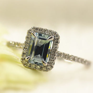 14K White Gold 1.0CT Emerald Cut Natural Aquamarine Ring Diamond Halo Wedding Ring
