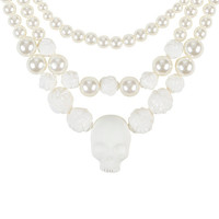 Ivory Peal Skull & Rose Layered Necklace