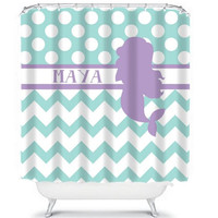 MERMAID Shower Curtain Monogram Girl Sisters Aqua Lavender Purple Chevron Polka Dot CUSTOM You Choose Colors Navy Hot Pink Bathroom Bath USA