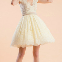 White Lace Pearl Tutu Prom Dress