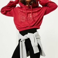Missguided - Red Savage Blouson Sleeve Cropped Hoodie