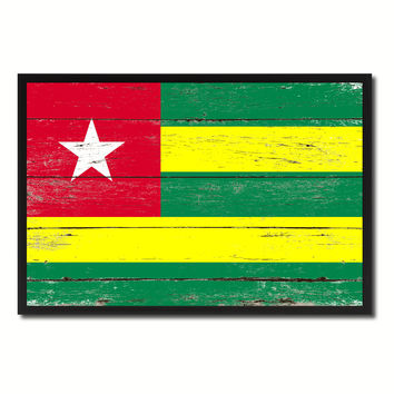 Togo Country National Flag Vintage Canvas Print with Picture Frame Home Decor Wall Art Collection Gift Ideas