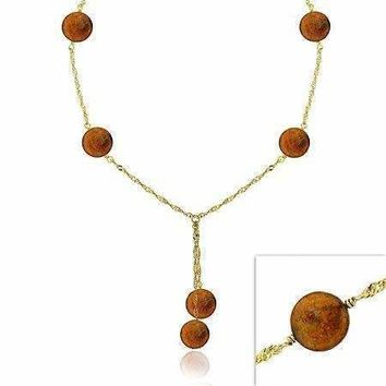 18K Gold over Sterling Silver Freshwater Cultured Copper Coin Pearl Lariat Necklace