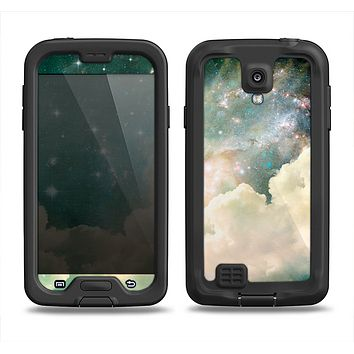 The Cloudy Grunge Green Universe Samsung Galaxy S4 LifeProof Fre Case Skin Set