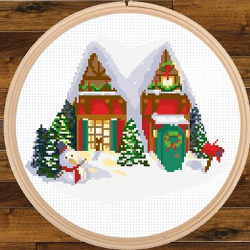 Christmas House Cross Stitch Pattern, Winter Wonderland Scene