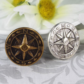Compass Steampunk Tie Tack, Silver Plated or Oxidized Brass