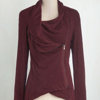 Folk Art Mid-length Long Sleeve Airport Greeting Cardigan in Burgundy
