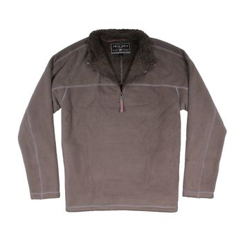 Bonded Polar Fleece & Sherpa Lined 1/4 Zip Pullover with Pockets in Vintage Olive by True Grit - FINAL SALE