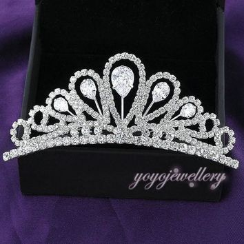 DCCKF4S Mytys White Color Clear Crystal Tiara Crown for Women Wedding Ceremony Party  Birthday Hair Jewelry C2