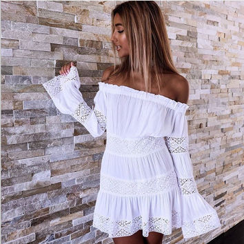 Patchwork Women's Fashion Lace One Piece Dress [9819010893]