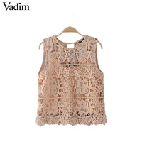 Vadim women sweet lace summer crop tops cute sleeveless chic short shirts o neck blouse casual European style tops WT468