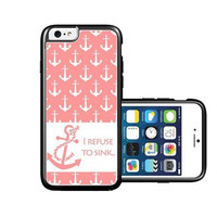 RCGrafix Brand Refuse To Sink Anchors Nautical Pattern Coral iPhone 6 Case - Fits NEW Apple iPhone 6