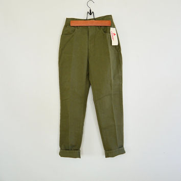 Vintage Olive Green Liz Claiborne Lizwear Jeans Dead Stock New with Tags High Waisted Tapered Leg Women's 4 1990's