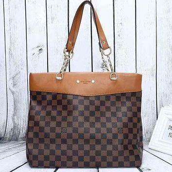 Perfect LV Women Shopping Leather Tote Handbag Shoulder Bag