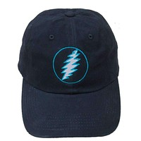 Grateful Dead Lightning Bolt Embroidered Baseball Hat in Navy with Teal
