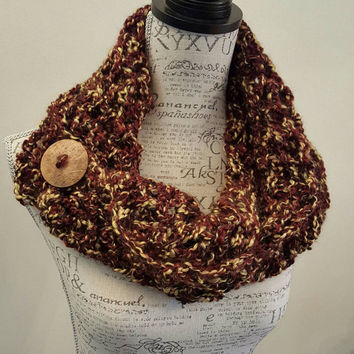 Crochet Scarf. Infinity Scarf. Infinity Cowl. Cowl. Scarf. Chunky. Katniss inspired cowl. Wood button cowl. Button scarf.