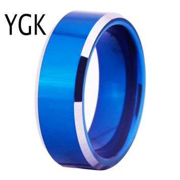 Free Shipping Hot Sales 8MM Width Blue Color With Shiny Bevel Custom Ring Blank Ring New Men's Fashion Tungsten Wedding Ring