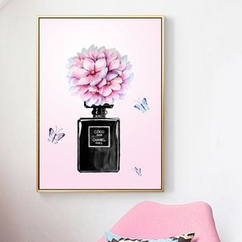 Canvas Painting Pink Flower Perfume Girl Room Decor Pop Art Posters And Prints Wall Art Canvas Pictures For Living Room Salon