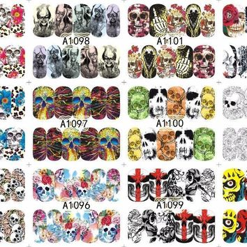 Skull Skulls Halloween Fall A1093-1104 12 PACK No. 47 s Abstract Nail Water Wraps Art Stickers Decals  day of the dead  water transfers sticker, Calavera