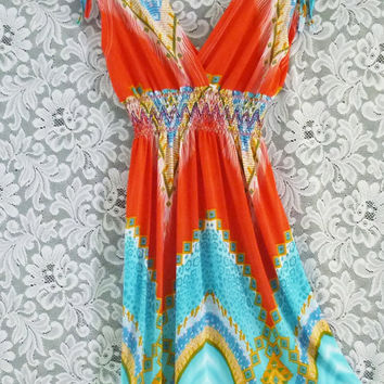 Size S small blouse Spandex dress Bohemian cute red-blue dress shoulder bow zigzag graphic print/ women clothing shirt