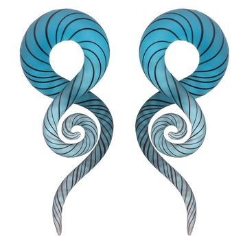 BodyJ4You Glass Spiral Taper Hanger Ear Gauge Brilliant Aqua 2G-14mm Piercing Jewelry