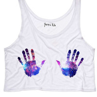 Galaxy Handprint Crop Tank Top
