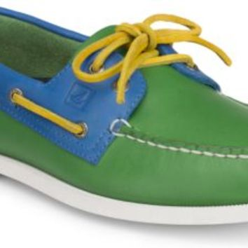 Sperry Top-Sider Authentic Original Flag Day 2-Eye Boat Shoe Green/BlueLeather, Size 10M  Men's Shoes