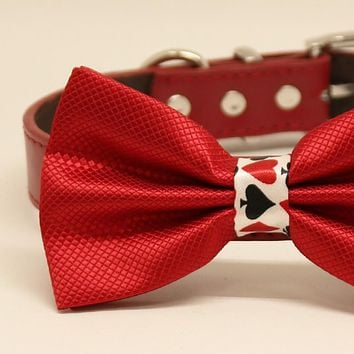 Red dog bow tie collar, Playing card, Alice in Wonderland