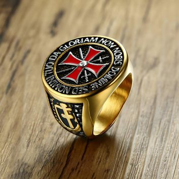 Knights Templar Mens Cross Ring with Cubic Zirconia Male Stainless Steel Masonic Band for Men Vintage Jewelry Anel Aneis Anillos