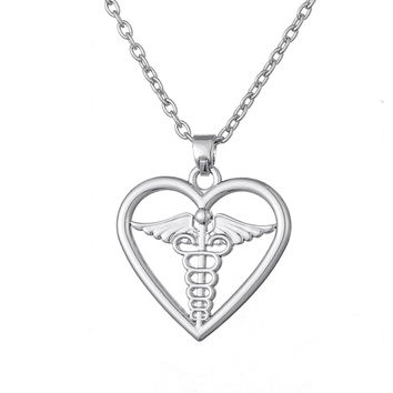 Caduceus in Heart Pendant Necklace