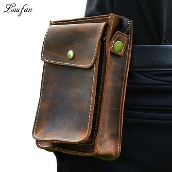 Men's genuine leather waist bag for phone and wallet crazy horse leather waist pack with shoulder strap