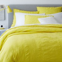 Crinkle Duvet Cover + Shams - Sun Yellow