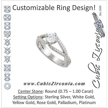 Cubic Zirconia Engagement Ring- The Christina (Round Tiara-themed Split-Band with Pave)