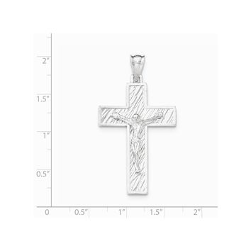 Sterling Silver Polished Large Box Cross Crucifix Pendant
