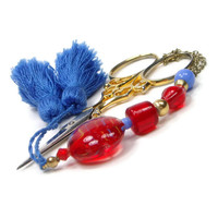 Scissor Fob Beaded Quilting Sewing Cross Stitch Needlepoint Bright Red Blue
