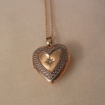 Gold Filled Heart shape Locket Tiny Diamond Necklace