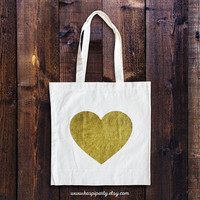 Gold heart tote bag, heart tote bag, gold glitter tote, gold glitter gift, bridesmaid gift, cute heart tote bag