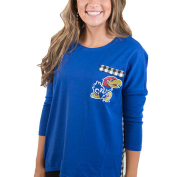KU Jayhawks oversized gingham piko top
