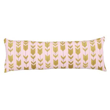 Pink Gold Tribal Arrows Body Pillow