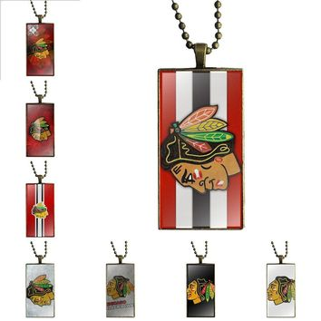Nhl Hocky Chicago Blackhawks Fashion Glass Cabochon Pendant Necklace Women Bronze Color Choker Rectangle Necklace For Women Gift