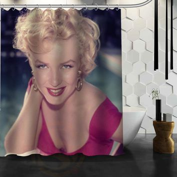 Pink Marilyn Monroe Customized Design Bath Waterproof Shower Curtain Bathroom Products Curtains 48x72, 60x72, 66x 72 inches