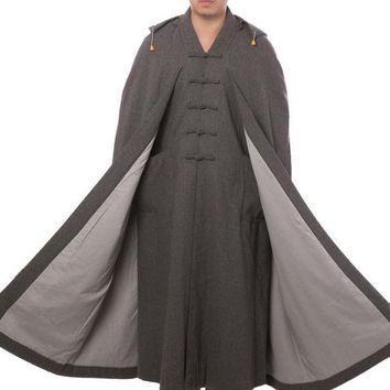 3color gray/brown top quality cashmere Zen suits winter wool cape buddhist shaolin monks martial arts uniforms meditation cloak