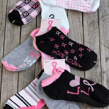 Ladies Breast Cancer Awareness Ankle Socks - 3 Pairs